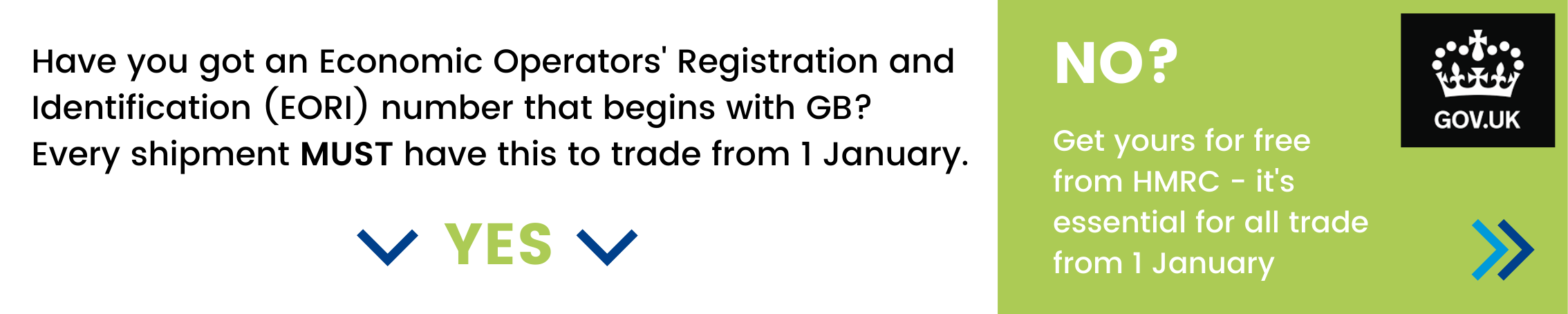 Have you got an Economic Operators' Registration and Identification (EORI) number that begins with GB? Every shipment must have this to trade from 1 January. If not - get yours for free from HMRC by clicking this button.