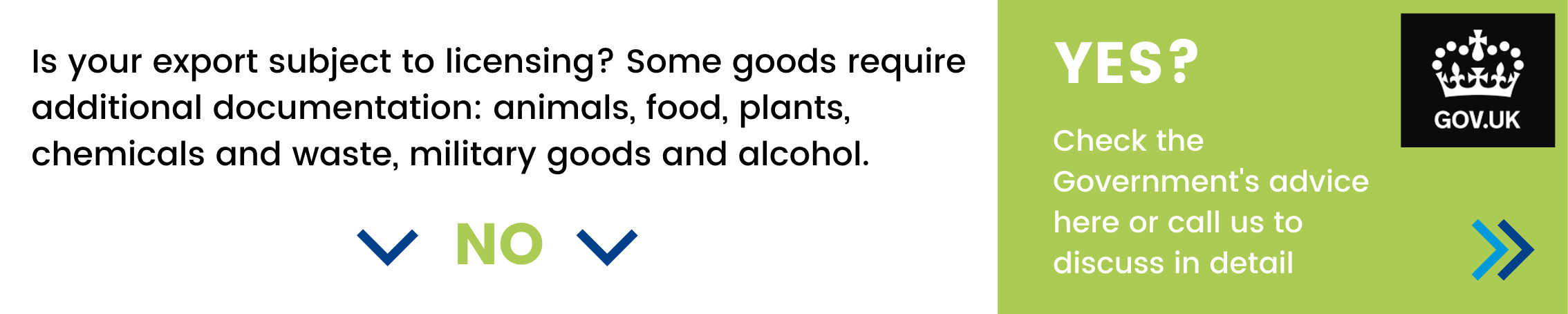 Is your export subject to licensing? Some goods require additional documentation: animals, food, plants, chemicals and waste, military goods and alcohol. If yes - check the Government's advice here or call us to discuss in detail.