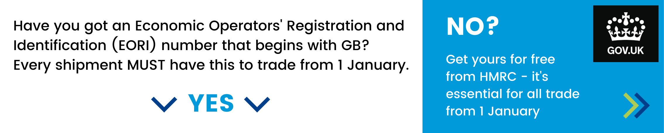 Have you got an Economic Operators' Registration and Identification (EORI) number than begins with GB? Every shipment must have this to trade from 1 January. If not - get yours for free from HMRC by clicking here.