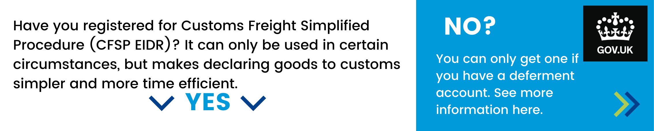 Have you registered for Customs Freight Simplified Procedure (CFSP EIDR)? It can only be used in certain circumstances, but makes declaring goods to customs simpler and more time efficient. If not - you can only get one if you have a deferment account - click here to see more information.